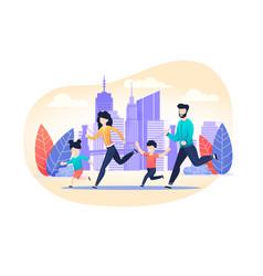 Family jogging exercise on city street cartoon vector