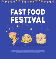 fast food banner template street junk food with vector image