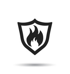 Fire warning sign shield fire flame on white vector