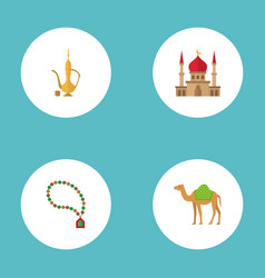 Flat icons pitcher bead minaret and other vector
