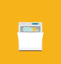 Flat of modern dishwasher icon vector
