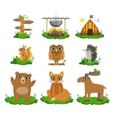 Forest Camping Cute Set vector image