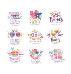 Friends forever logo design set happy friendship vector