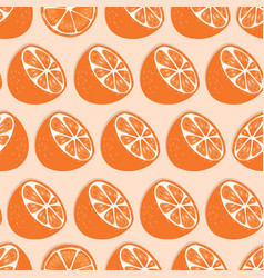 fruit seamless pattern orange halves with shadow vector image