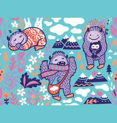 Funny bigfoots characters in nature vector