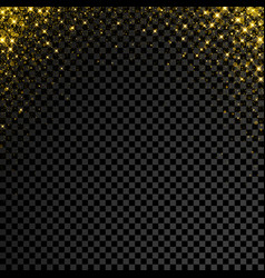 Gold glitter confetti on transparent background vector