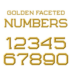 Golden faceted numbers trendy and stylish golden vector