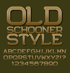 Golden letters numbers beautiful roundish font vector
