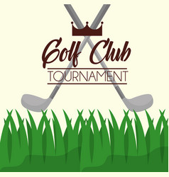 golf clubs tournament on grass poster vector image