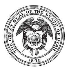 great seal state utah 1896 vintage vector image