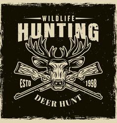 hunting club light emblem on dark backdrop vector image