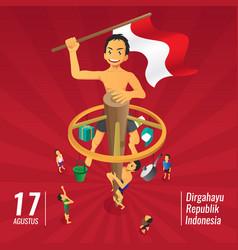 Indonesia independence day games panjat pinang vector