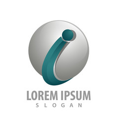 initial letter i sphere logo concept design vector image