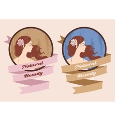 Label with beautiful girl vector image