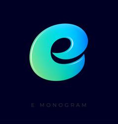 Letter e green blue gradient monogram vector