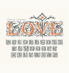 lettering love and set vintage alphabet letters vector image