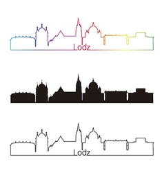 Lodz skyline linear style with rainbow vector image