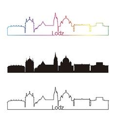 Lodz skyline linear style with rainbow vector image