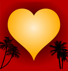 love heart on red background and palm trees vector image