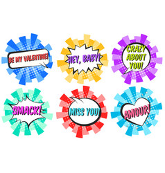 Lovely striped retro comic speech bubbles vector
