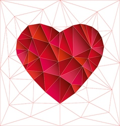 Low poly red heart vector