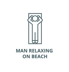 man relaxing on beach line icon linear vector image