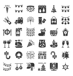merry christmas icon set 3 glyph design vector image