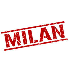 Milan red square stamp vector