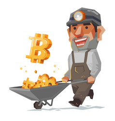 Miner and bitcoin mineral cryptocurrency sign and vector