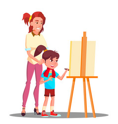 Mother and daughter painting on the easel vector