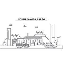 north dakota fargo architecture line skyline vector image vector image