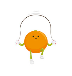 Orange character jumping rope exercise vector