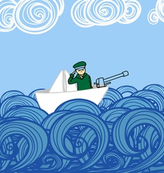Paper ship with soldier floating on waves vector