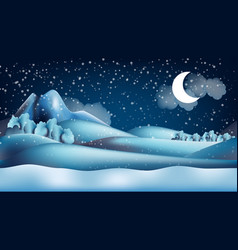 parallax winter landscape cartoon seamless vector image