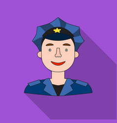 policeman icon in flat style isolated on white vector image