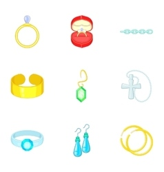 Precious gifts icons set cartoon style vector