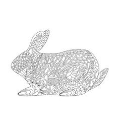 Rabbit in style entangle for easter vector