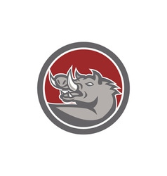 Razorback Head Looking Up Circle vector image