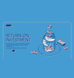 return on investment isometric landing page banner vector image
