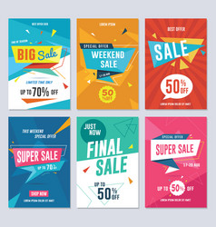 sale discount and promotion flyer set vector image