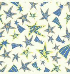 seamless blue yellow star pattern design vector image