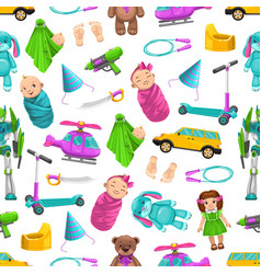 Seamless pattern bakid toys dolls and robots vector