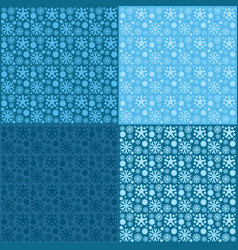 seamless patterns of snowflakes on blue background vector image
