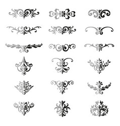 set flourishes calligraphic elegant ornament vector image