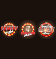 set stand up comedy show retro banners vector image