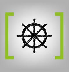 Ship wheel sign black scribble icon in vector