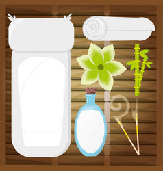 Spa wood room with herbal product to message vector