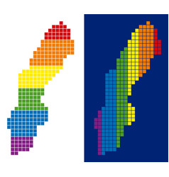 Spectrum pixel dotted sweden map vector