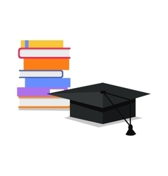 Stack of Books and Square Academic Cap vector