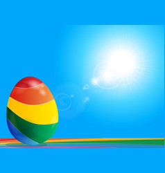 striped easter egg on rainbow over blue sky vector image